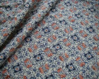 Vintage silk Japanese kimono fabric (small flower pattern)