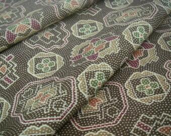 SALE vintage wool Japanese kimono fabric (brown flower)