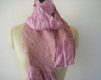 Japanese Vintage Silk Shibori Obi or Scarf(light purple) very good condition