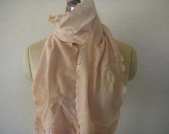 Japanese Vintage Silk Shibori Obi or Scarf(light pink) very good condition