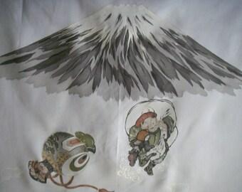 Vintage Silk Japanese kimono fabric (Mt.Fuji gray)