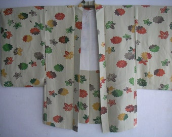 Vintage Japanese silk Haori kimono Jacket(Momiji)never used