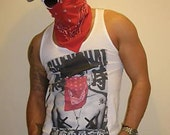 Gods Of Style Deep Crew Neck, Hand Printed 'Outlaw' Tank Top