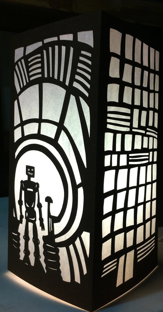 Black Shoji Lamp - Cityscape with Robot (Some Assembly Required)