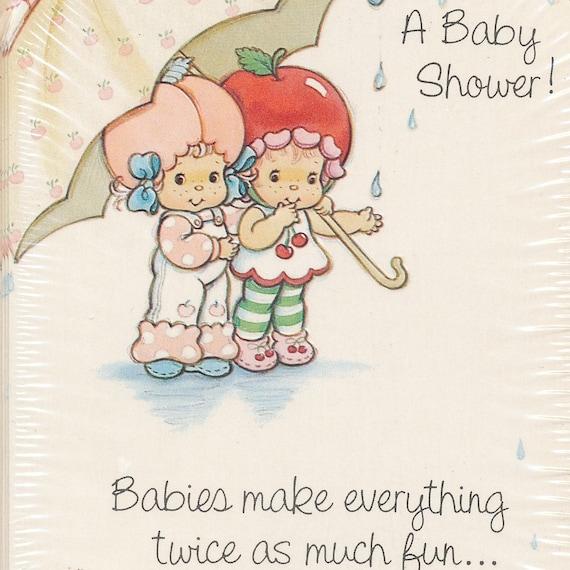 vintage 80s strawberry shortcake baby shower invitations