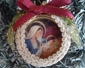 Nativity Ornament Stocking Stuffer Idea Handmade Christmas Ornament From Recycled Cards