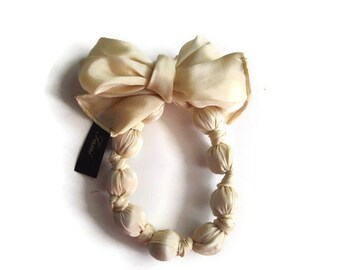 Scarf Necklace Cream Fashion Statement Tied At The Nape Of The Neck Handmade handcraftusa