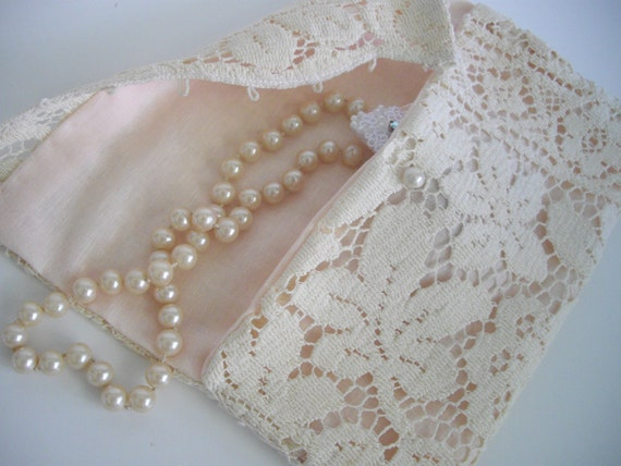 Cream Lace Keepsake Bag For Wedding Items Handmade By handcradtusa