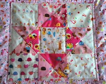 Nursery Decor - Kawaii mini quilt---The cute pink one