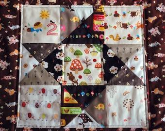 Kawaii mini quilt, Nursery Decor, Patchwork Quilt ---The cute brown one
