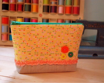 Floral zakka small clutch --- Linen, ruffles and flowers - one of a kind
