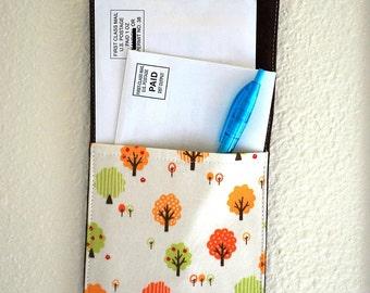 Wall pocket - mail organizer - wall decor - tree orchard print