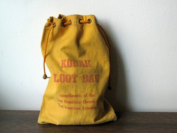 Vintage Yellow Canvas Drawstring Kodak Loot Bag