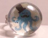 Blue Octopus Adjustable Ring