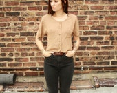 80's button up cap sleeve crop top with pocket