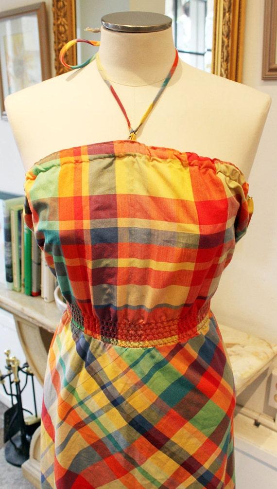 Vintage Plaid Halter Dress