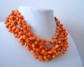 RESERVED The Spark Orange Coral multistrand necklace