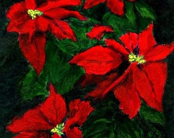 Holiday Christmas Flowers  Original Art Poinsettias in Red Green Yellow Home Decor Wall Decoration