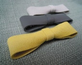 Mini Bow Barrette Trio- Yellow, White & Grey
