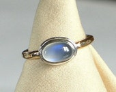 Blue Moonstone Hammer Patterned Gold filled Shank Ring Made to Order