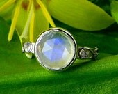 Rainbow Moonstone /Argentium Sterling Old Vine  Ring  Make to order