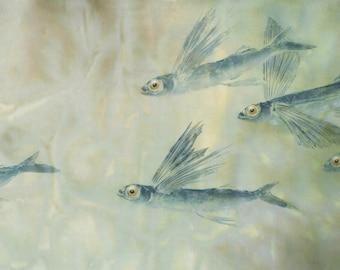 Sea Scape-  reproduction of original gyotaku--flying fish