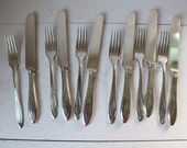 25% off barn sale vintage 1920s DINNER FOR 6 tableware set. Forks and knives by Oneida silverplate.