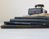 vintage photography book bundle in blue and tan, 1939, 1940, 1947. set of 5.