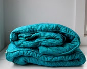 RESERVED .... 25% off barn sale vintage 1960s TV DINNER bedspreads turquoise irridescent twin sized.