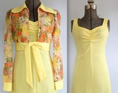 vintage 1970s maxi dress and matching jacket. Small. the LEMON MERINGUE set