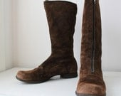 vintage 1970s brown suede boots, size 6 to 6.5. / the APPLE CIDER boots