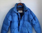 SALE vintage blue down jacket. 1970s Marmot Mountain Works. Men's L, Women's XL / the Granola Sundae coat