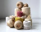 vintage crochet yarn rolls / 1950s - 1960s ecru, beige, pink, yellow
