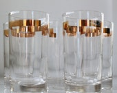 vintage 1950s highball glasses. Gold banded set of 5. mid century Hollywood Regency  / the QUIET COCKTAIL barware