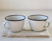 vintage 1920s enamelware coffee cups. set of 2 in white and cobalt / rustic primitive / the CAMPFIRE COFFEE cups