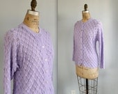 vintage purple cardigan. granny style pointelle. size medium  - large / the CANDIED VIOLETS sweater
