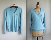 vintage 1970s Izod Lacoste cashmere sweater. Sky blue V-neck. Men's patron / large