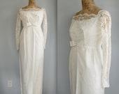 1960s vintage wedding gown. empire waist. lace over taffeta. XS - S / the SUGAR CREAM bridal dress