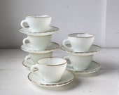 set of 6 vintage 1960s milk glass cups and saucers. Anchor Hocking Fire-King Golden Shell  / the COFFEE KLATSCH set
