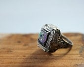 vintage 1920s signet ring. Pinky size 4.5 with enamel face, filigree sides. Art Deco. / the SPEAKEASY PIE ring