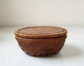 vintage 1920s handmade basket. rustic home decor.