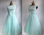 vintage 1950s ball gown. XS/S. Pale aqua chiffon prom dress. Sleeveless formal with bow and pleats / the STARLIT Sundae frock