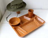 vintage army mess tray, set of 2. WW2 1940s Bolta bakelite melmac. military collectibles, tv dinners  / the THREE SQUARE tray