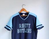 vintage 1980s sports jersey. two tone short sleeve athletic shirt. retro style. unisex L / Rhett Butler