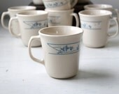 Sale / Corning Corelle First of Spring ceramic mugs, set of 4. Retro traditional  / the COFFEE quartet set.