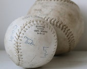 vintage 1970s leather softballs, 12 and 16 inch. with autographs and stats