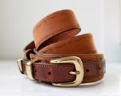 vintage leather belt. 1980s preppy equestrian style. two-tone leather, solid brass buckle, M-L / the MOCHA Latte belt