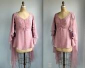 vintage angel wing blouse. small - medium. Pink sheer chiffon, huge butterfly sleeves / the SPUN SUGAR shirt