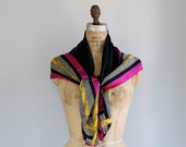 vintage Anne Klein for Vera silk scarf. 1980s. Pink, gold, black and white colorblock and stripe design / designer fashion