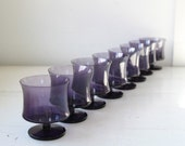 vintage 1970s amethyst goblets. Set of 8. Purple modern glasses, concave sides / Danish modern / the GRAPPA glasses